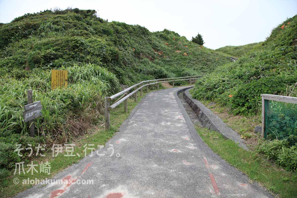 丘へ登るスロープ